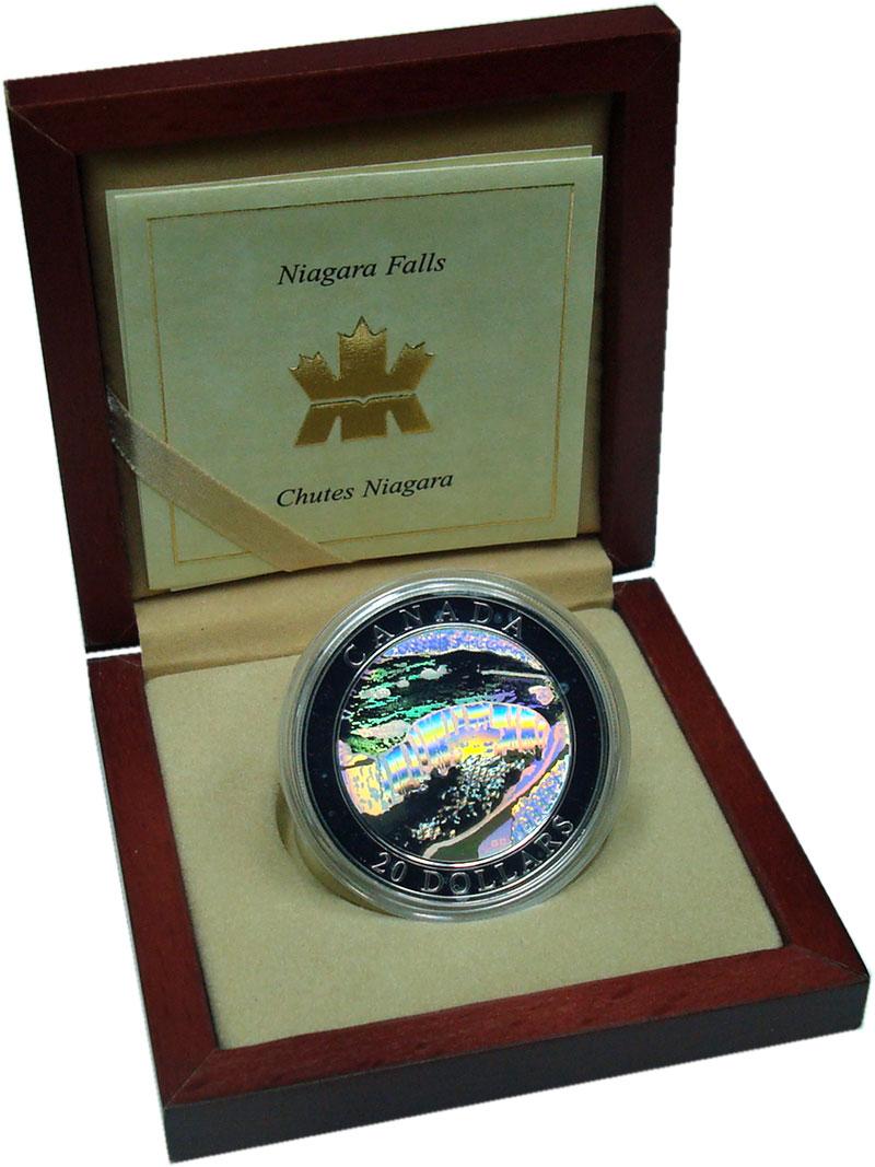 Изображение Подарочные монеты Канада 20 долларов 2003 Серебро Proof Ниагарский водопад.