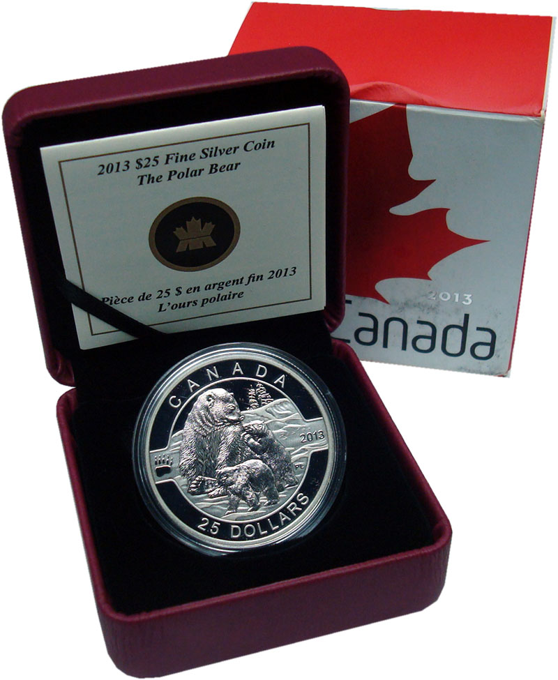 Изображение Подарочные монеты Канада 25 долларов 2013 Серебро Proof Полярный медведь. Се