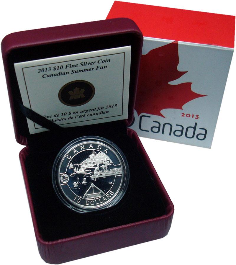 Изображение Подарочные монеты Канада 10 долларов 2013 Серебро Proof Летнее веселье. Сере