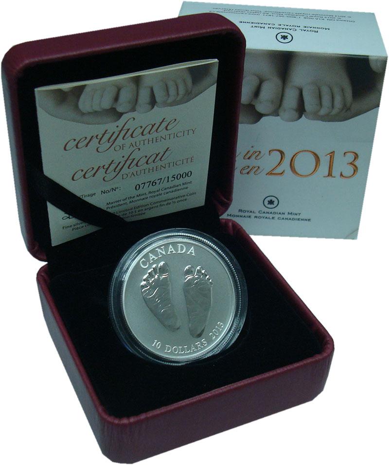 Изображение Подарочные монеты Канада 10 долларов 2013 Серебро UNC Рождённому в 2013 го