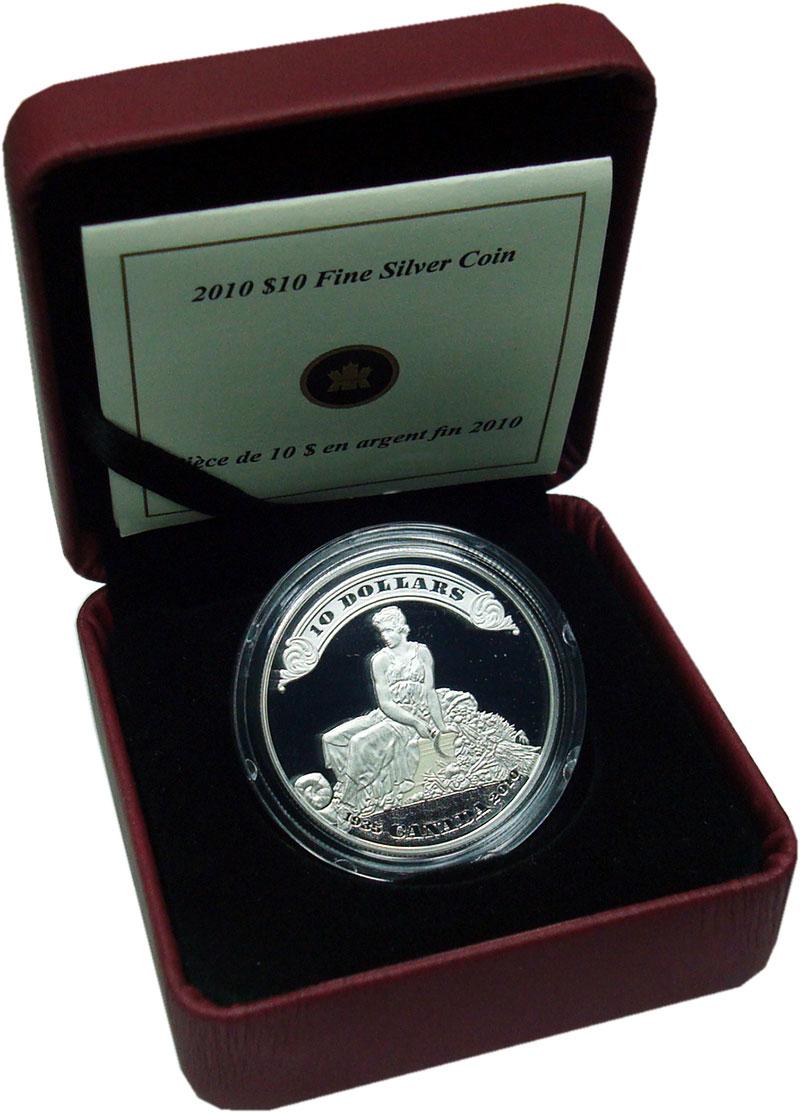Изображение Подарочные монеты Канада 10 долларов 2010 Серебро Proof 75 лет первому выпус