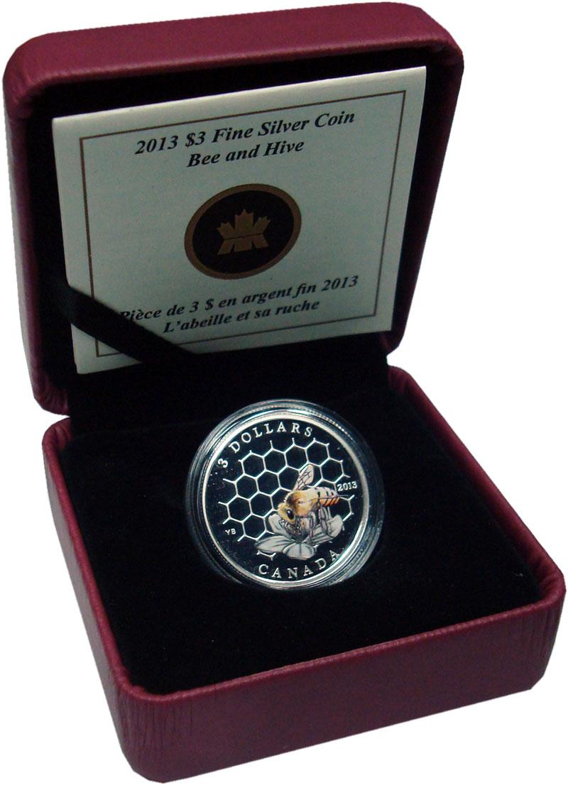 Изображение Подарочные монеты Канада 3 доллара 2013 Серебро Proof Пчела. Серебро 999.