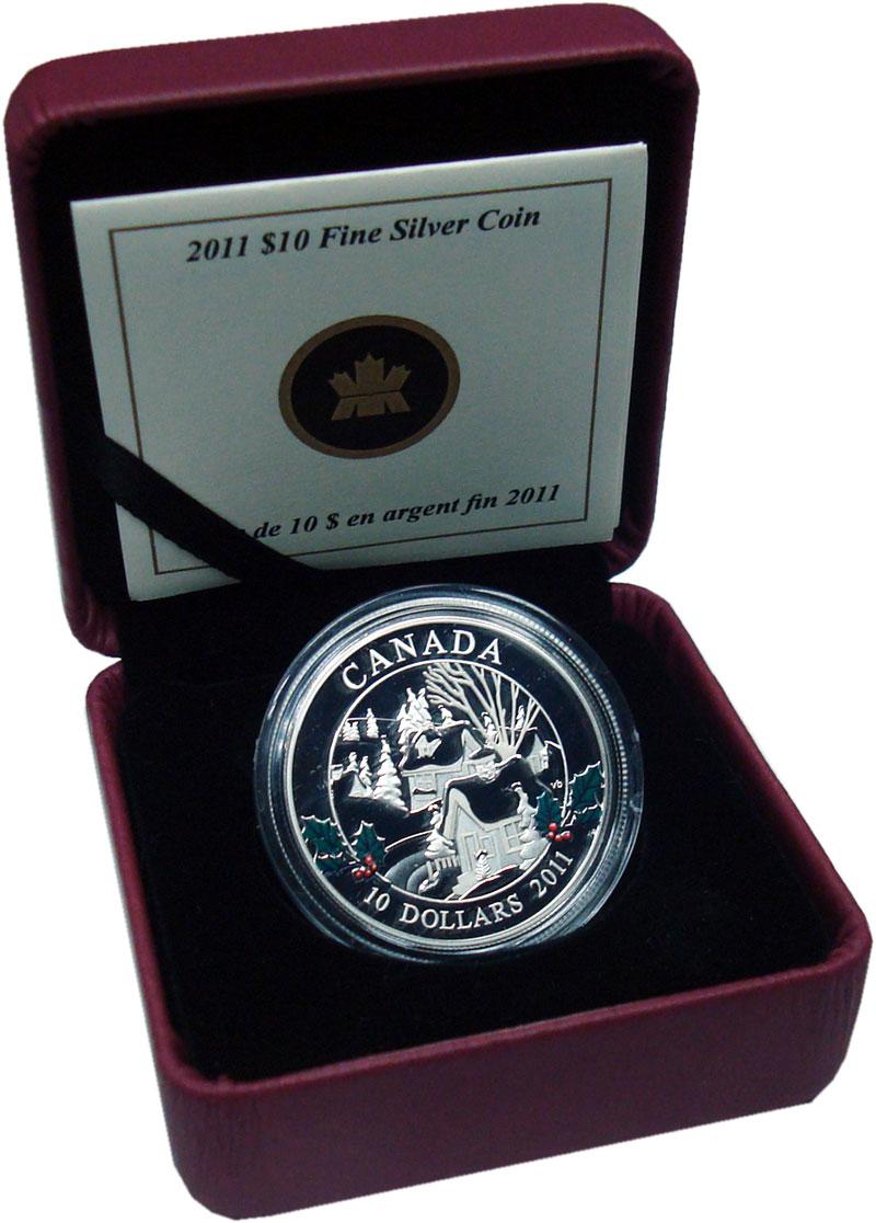 Изображение Подарочные монеты Канада 10 долларов 2011 Серебро Proof Зимний город. Серебр