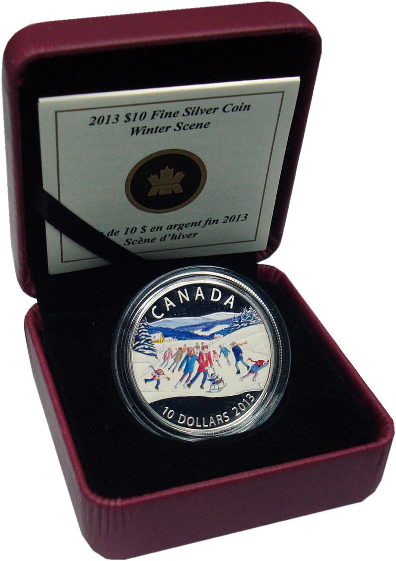 Изображение Подарочные монеты Канада 10 долларов 2013 Серебро Proof Зимние забавы. Сереб