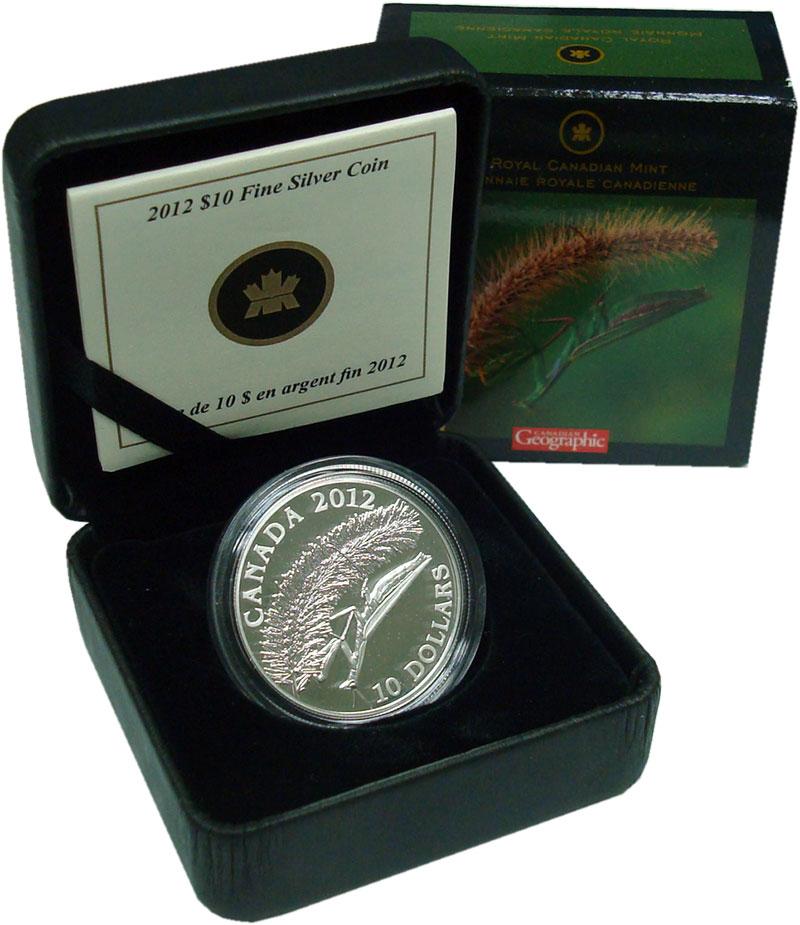 Изображение Подарочные монеты Канада 10 долларов 2012 Серебро Proof Богомол. Серебро 999