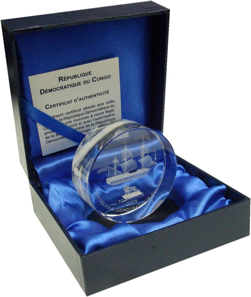 Изображение Подарочные монеты Конго 10 франков 2006  UNC Парусное судно. Тира