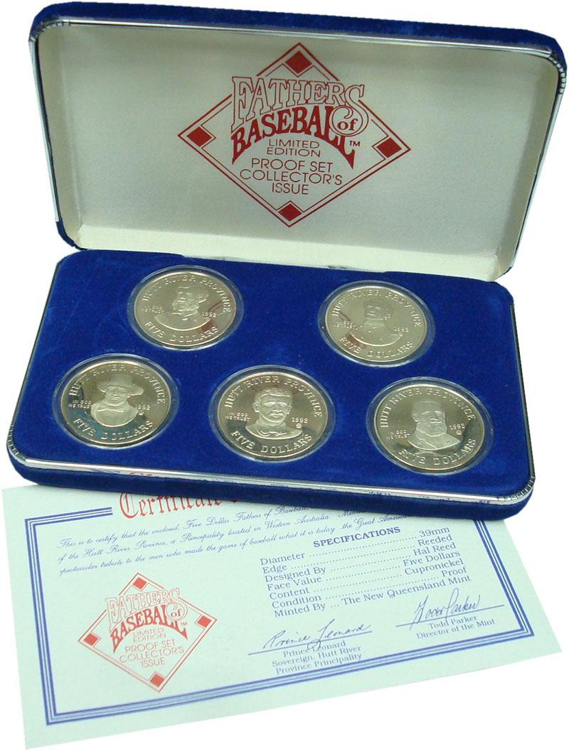 Изображение Подарочные монеты Хатт-Ривер Отцы бейсбола 1992 Медно-никель Proof- Отцы бейсбола. В наб