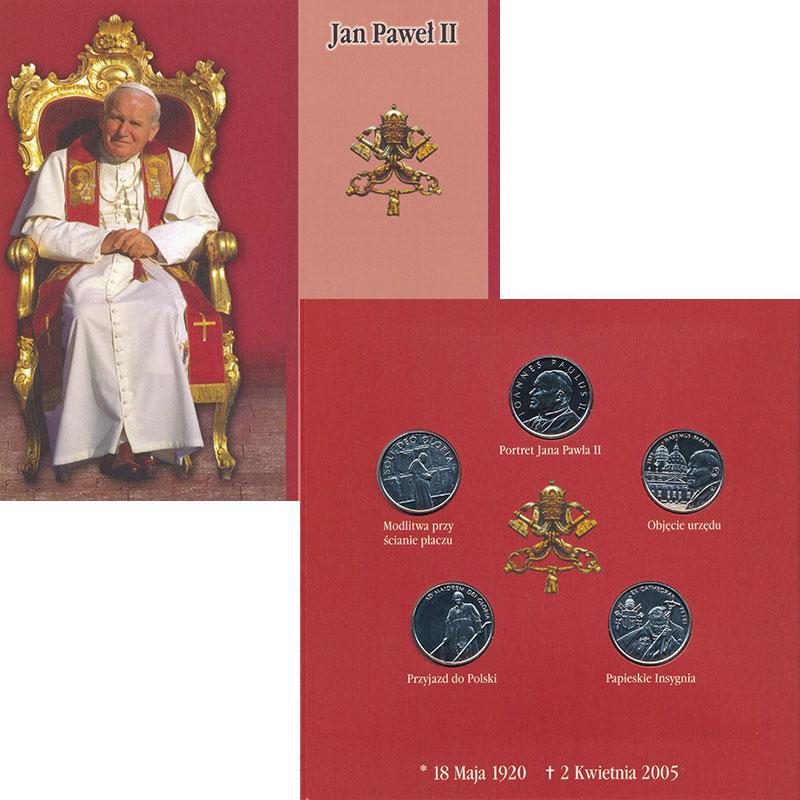 Изображение Подарочные монеты Мальтийский орден Иоанн Павел II 2005 Медно-никель UNC Набор из пяти монет