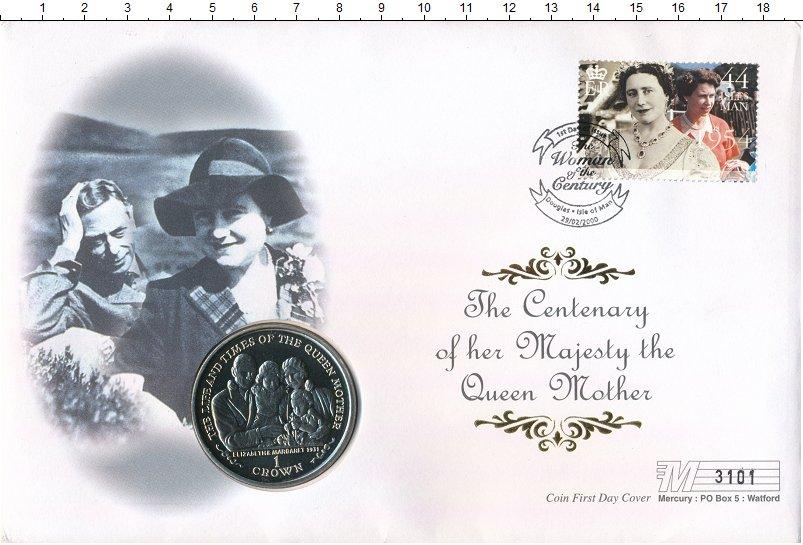 Изображение Подарочные монеты Остров Мэн 1 крона 2000 Медно-никель UNC Королева мать. Ориги