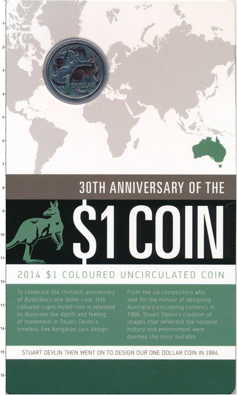 Изображение Подарочные монеты Австралия 1 доллар 2014 Медно-никель UNC Цветная эмаль. Ориги