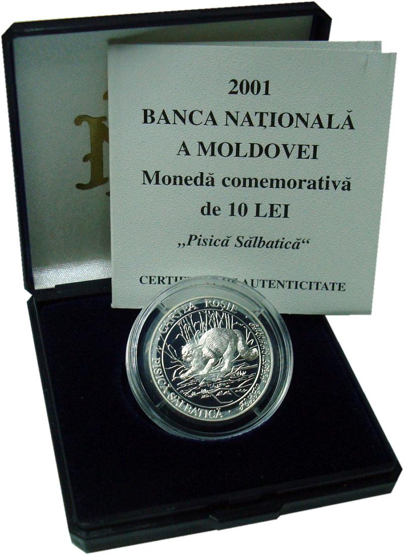 Изображение Подарочные монеты Молдавия 10 лей 2001 Серебро Proof- Дикая кошка. Оригина