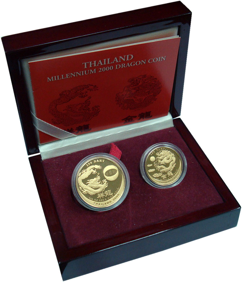 Изображение Подарочные монеты Таиланд Миллениум 2000 Золото Proof `В набор ``Миллениум