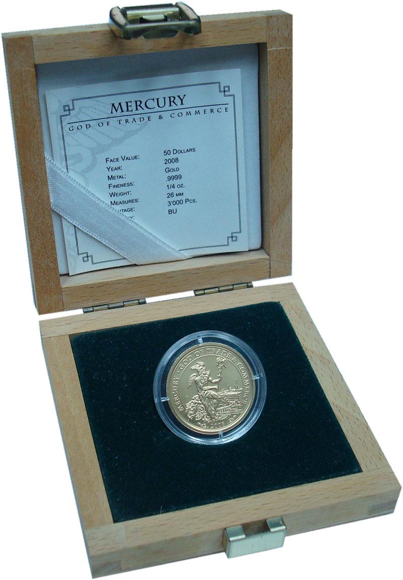 Изображение Подарочные монеты Острова Кука 50 долларов 2008 Золото BUNC Меркурий - бог торго