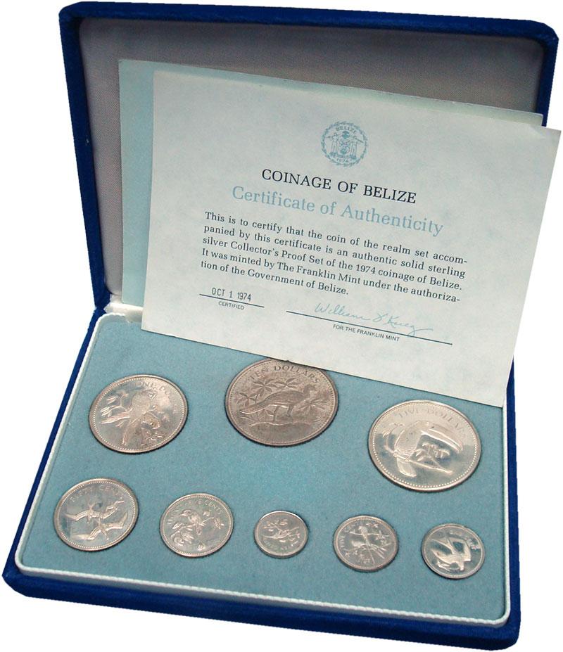 Изображение Подарочные монеты Белиз Набор 1974 года 1974 Серебро Proof- Набор из восьми моне