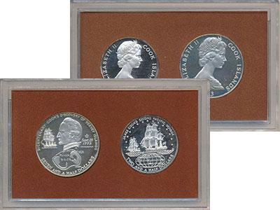 Изображение Подарочные монеты Острова Кука Джеймс Кук 1973 Серебро Proof- Набор из двух монет