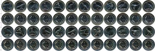 Изображение Наборы монет Турция 1 куруш 2019 Биметалл UNC В наборе 24 монет но