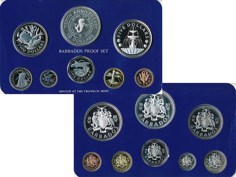 Изображение Подарочные монеты Барбадос Набор 1982 года 1982  Proof Набор из 8 монет: 1
