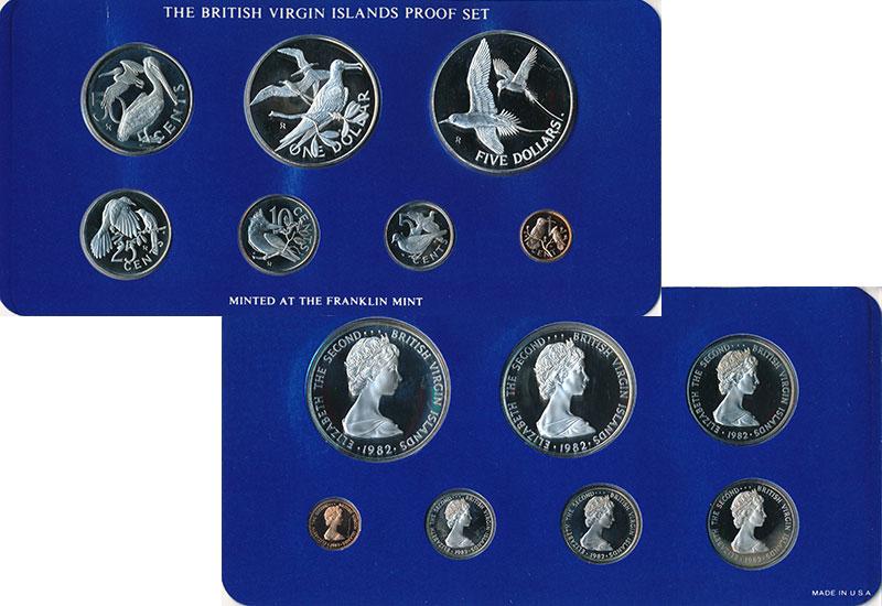Изображение Подарочные монеты Виргинские острова Набор 1982 года 1982  Proof Набор из 7 монет: 1