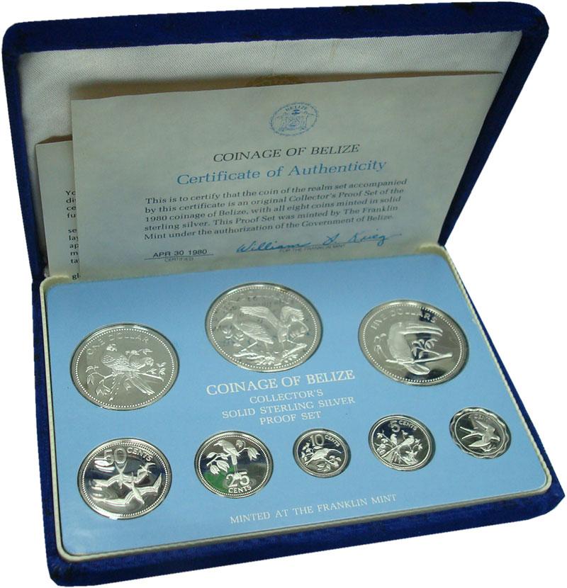 Изображение Подарочные монеты Белиз Набор 1980 года 1980 Серебро Proof Набор из 8 монет от