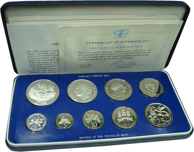 Изображение Подарочные монеты Ямайка Набор  1982 года 1982  Proof Набор из 9 монет: 1