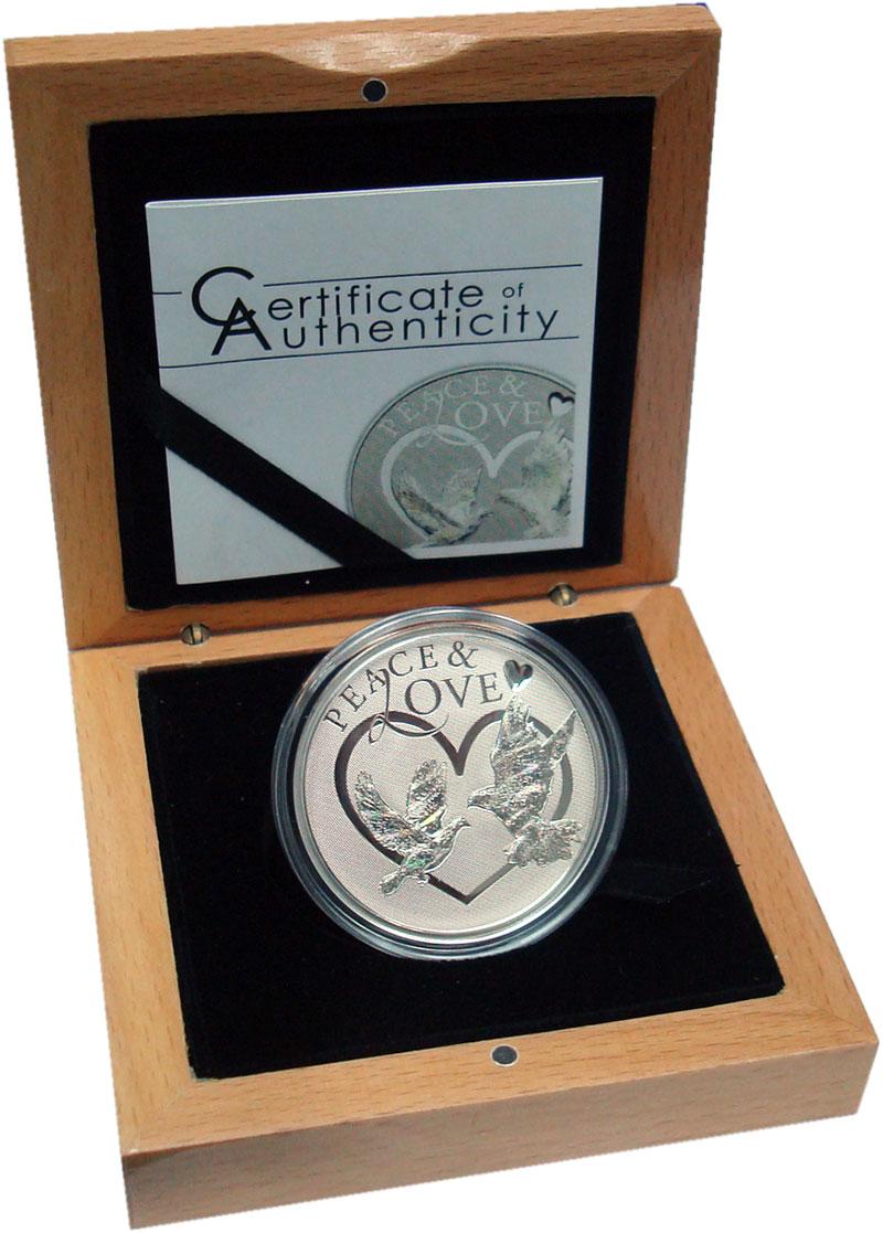 Изображение Подарочные монеты Токелау 5 долларов 2012 Серебро Proof Мир и Любовь. Оригин