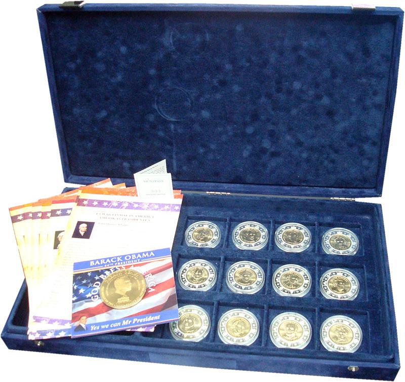 Изображение Подарочные монеты США Президенты США 0  UNC Набор из 12 латунных