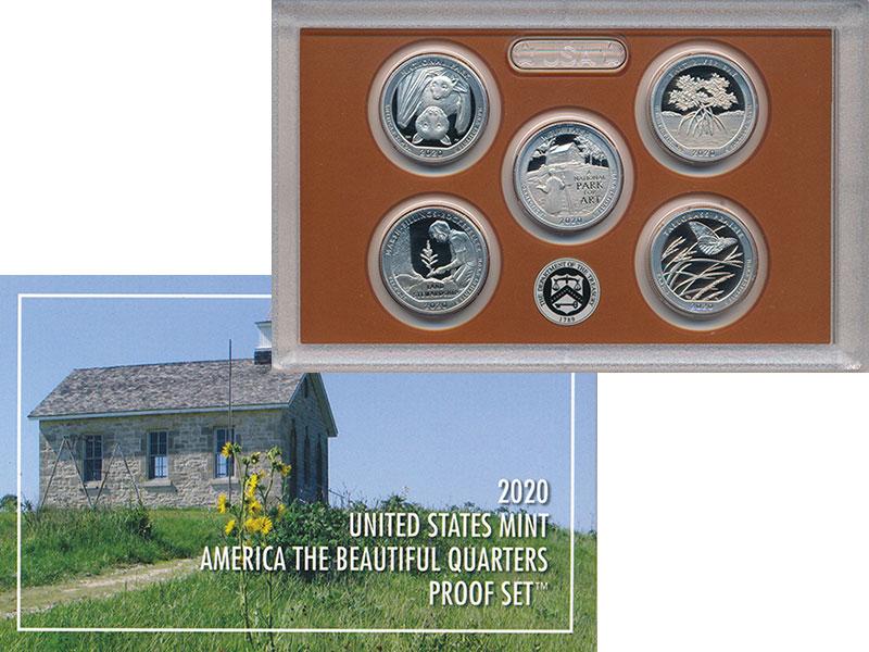 Изображение Подарочные монеты США 1/4 доллара 2020 Медно-никель Proof Набор из 5 монет сер