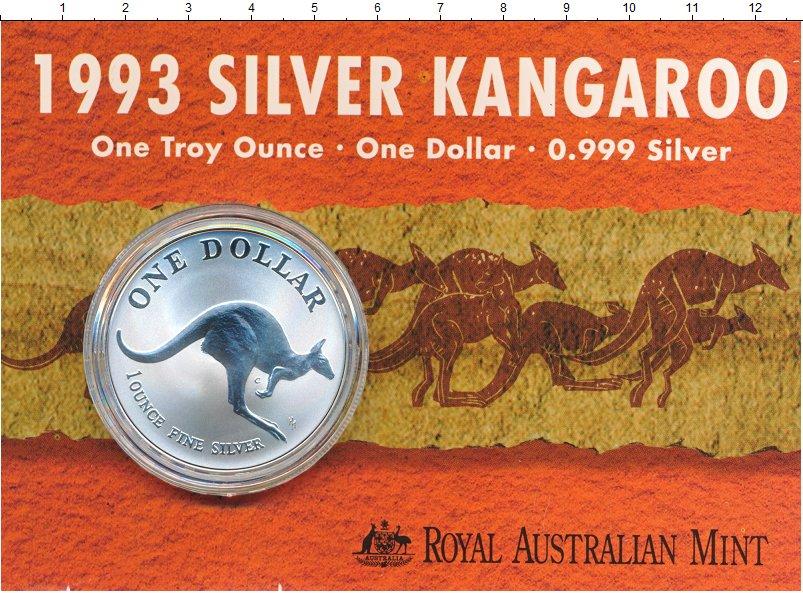 Изображение Подарочные монеты Австралия 1 доллар 1993 Серебро UNC Кенгуру.<br><br>Ори