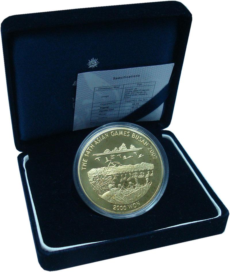 Изображение Подарочные монеты Южная Корея 2.000 вон 2002 Латунь Proof XIV Азиатские игры.