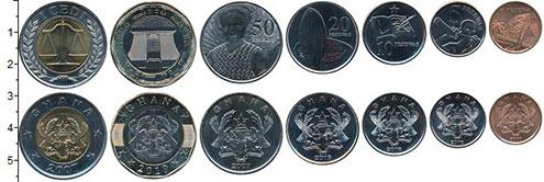 Изображение Наборы монет Гана Набор 2007-2019 гг. 0  UNC В наборе 7 монет ном