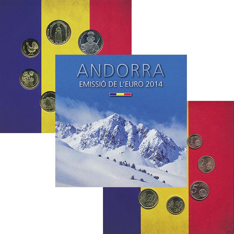 Изображение Подарочные монеты Андорра Набор 2014 года 2014  UNC Набор из 8 евромонет