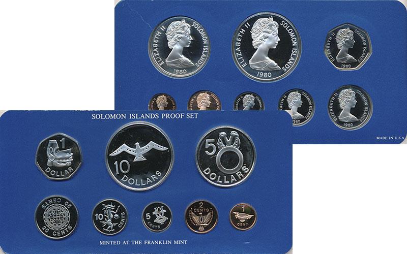 Изображение Подарочные монеты Соломоновы острова Набор 1980 года 1980  Proof В набор входят монет