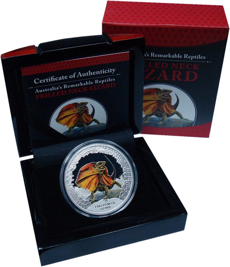 Изображение Подарочные монеты Тувалу 1 доллар 2013 Серебро Proof Плащеносная ящерица.