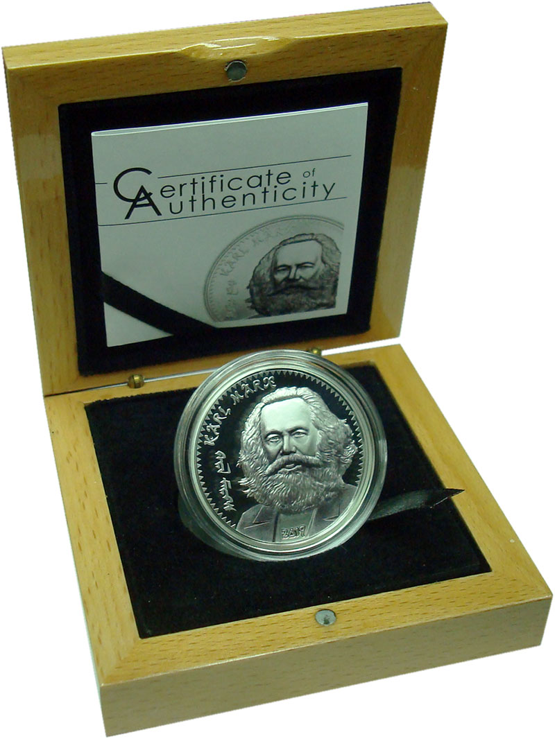 Изображение Подарочные монеты Монголия 1.000 тугриков 2019 Серебро Proof Карл Маркс. Серебро
