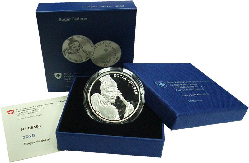 Изображение Подарочные монеты Швейцария 20 франков 2020 Серебро Proof Роджер Федерер. Сере