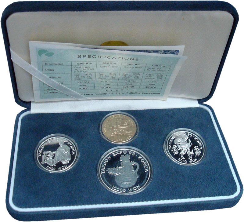 Изображение Подарочные монеты Южная Корея Экспо-93 1993 Серебро Proof Набор из четырех мон