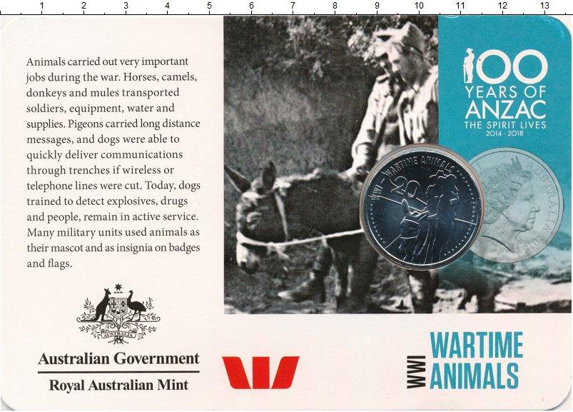 Изображение Подарочные монеты Австралия 20 центов 2015 Медно-никель UNC Животные на Первой м