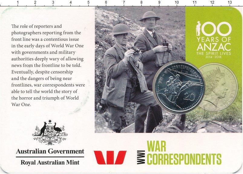 Изображение Подарочные монеты Австралия 20 центов 2015 Медно-никель UNC Военные корреспонден