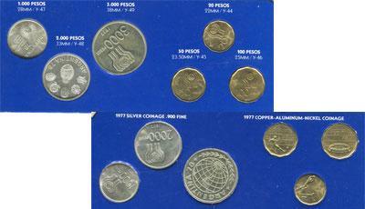 Изображение Подарочные наборы Аргентина Чемпионат мира по футболу 1978 1978 Серебро UNC- Набор монет Аргентин