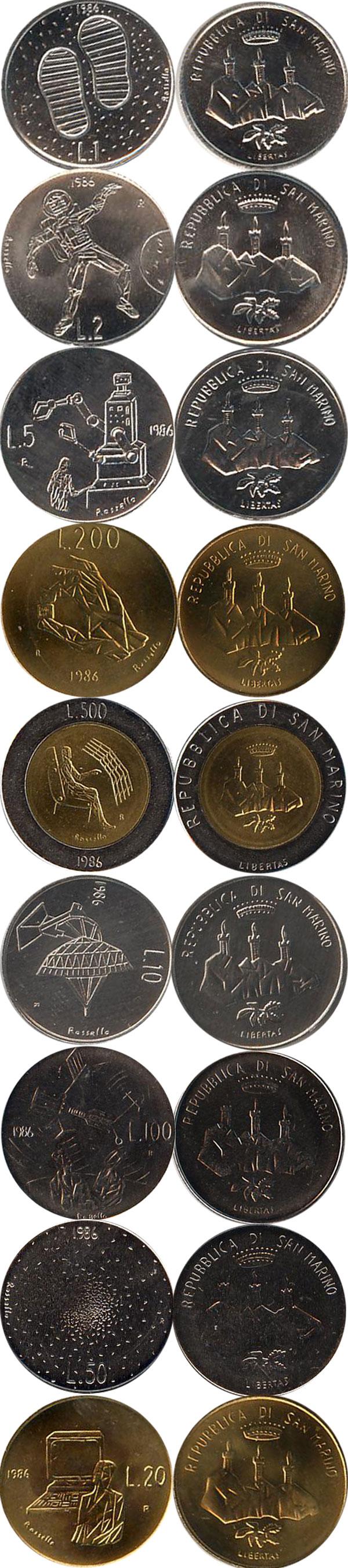 Картинка Подарочные монеты Сан-Марино Набор 1986 года  1986
