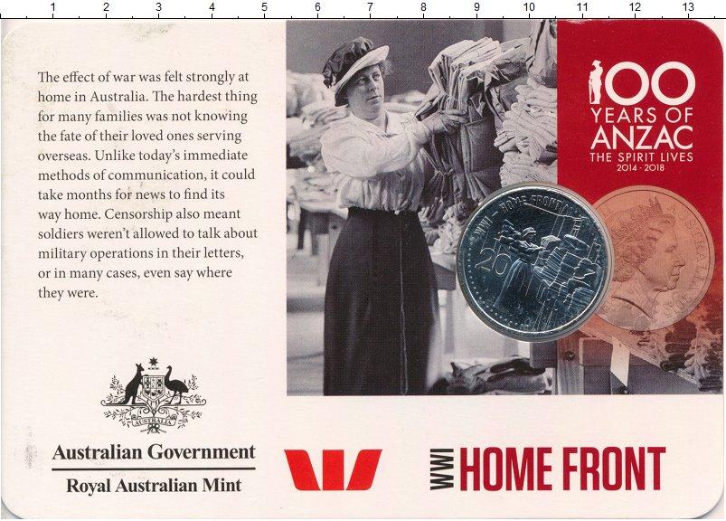 Изображение Подарочные монеты Австралия 20 центов 2015 Медно-никель UNC Фронт в тылу Первой