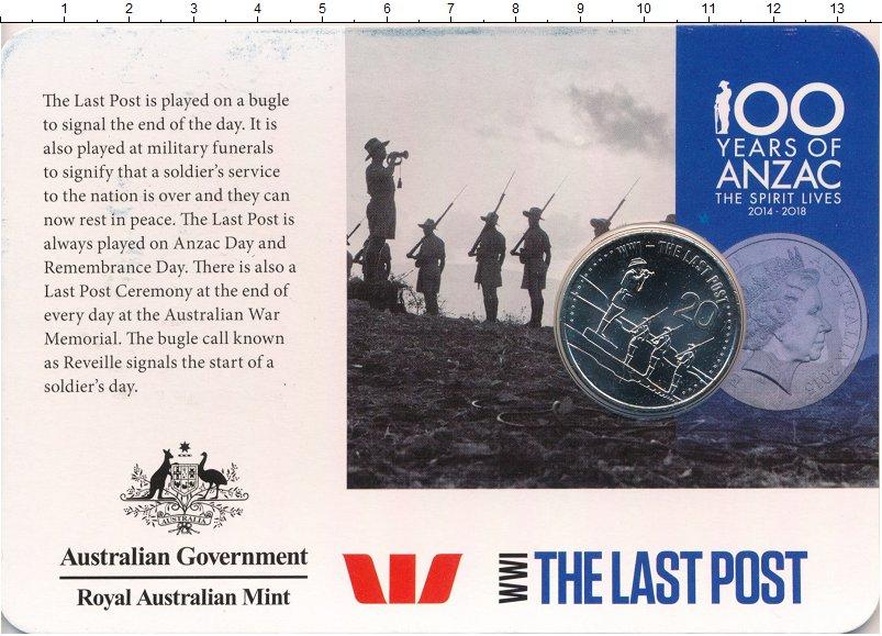 Изображение Подарочные монеты Австралия 20 центов 2015 Медно-никель UNC Смена караула Первой