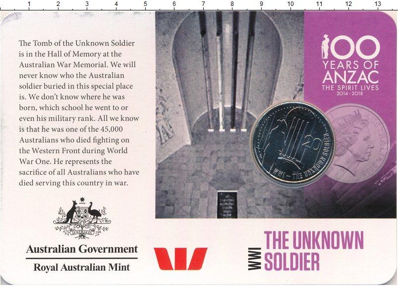 Изображение Подарочные монеты Австралия 20 центов 2015 Медно-никель UNC Неизвестный солдат П