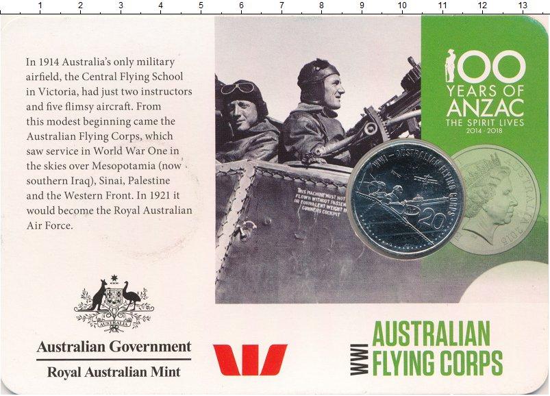 Изображение Подарочные монеты Австралия 20 центов 2015 Медно-никель UNC Лётчики Первой миров