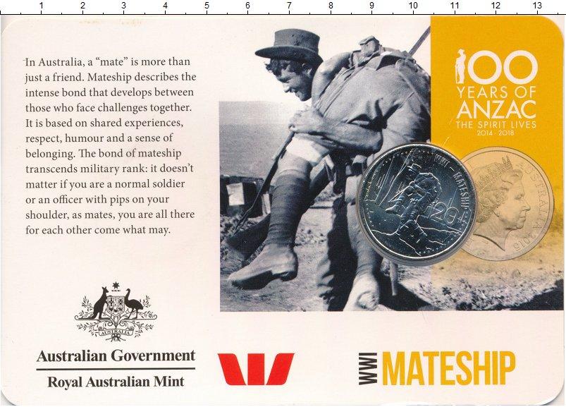 Изображение Подарочные монеты Австралия 20 центов 2015 Медно-никель UNC Окопное братство Пер