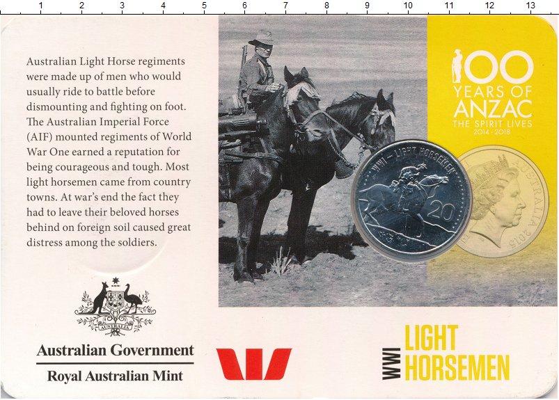 Изображение Подарочные монеты Австралия 20 центов 2015 Медно-никель UNC Лёгкая кавалерия Пер
