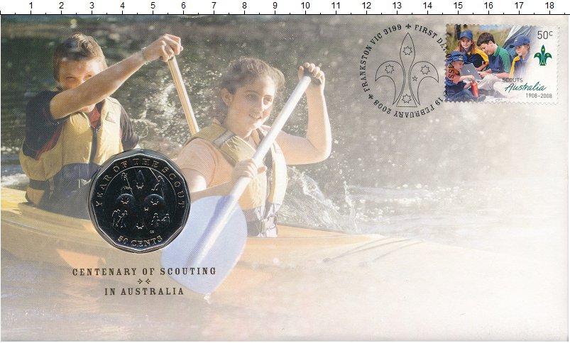 Изображение Подарочные монеты Австралия 50 центов 2008 Медно-никель UNC 100-летие движения с