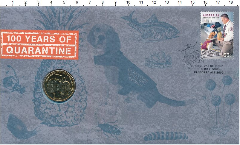 Изображение Подарочные монеты Австралия 1 доллар 2008 Латунь UNC 100-летие службы Кар