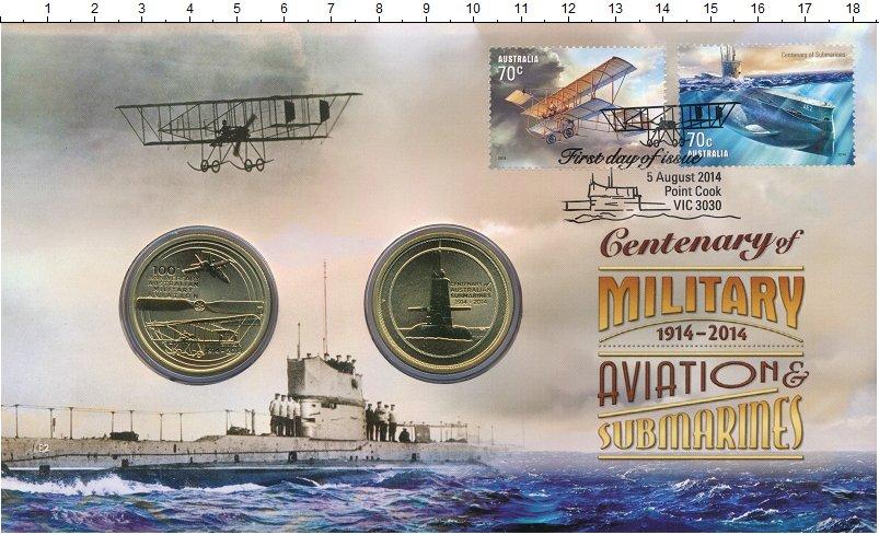 Изображение Подарочные монеты Австралия 1 доллар 2014 Латунь UNC 100-летие военной ав