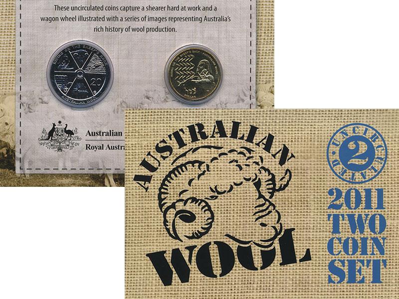 Изображение Подарочные монеты Австралия Австралийская шерсть 2011  UNC Сет из 2 монет, номи
